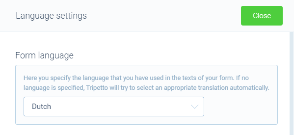 Screenshot of languages in Tripetto